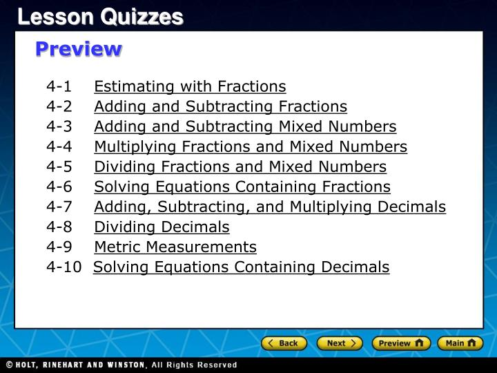 PPT - 4-1 Estimating with Fractions 4-2 Adding and Subtracting