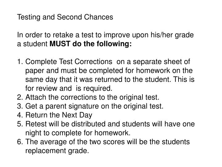 Testing and Second Chances