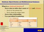 relational object oriented and multidimensional databases1