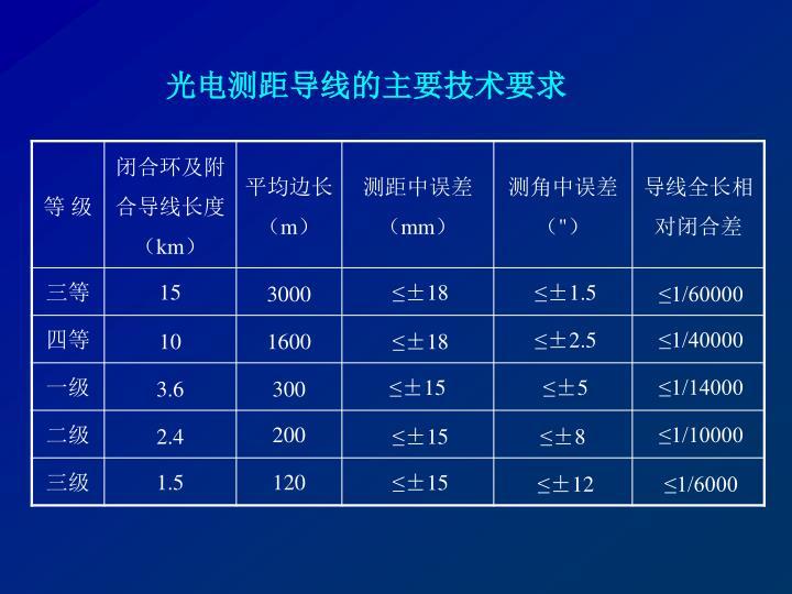 光电测距导线的主要技术要求