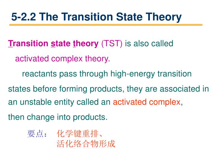5-2.2 The Transition State Theory