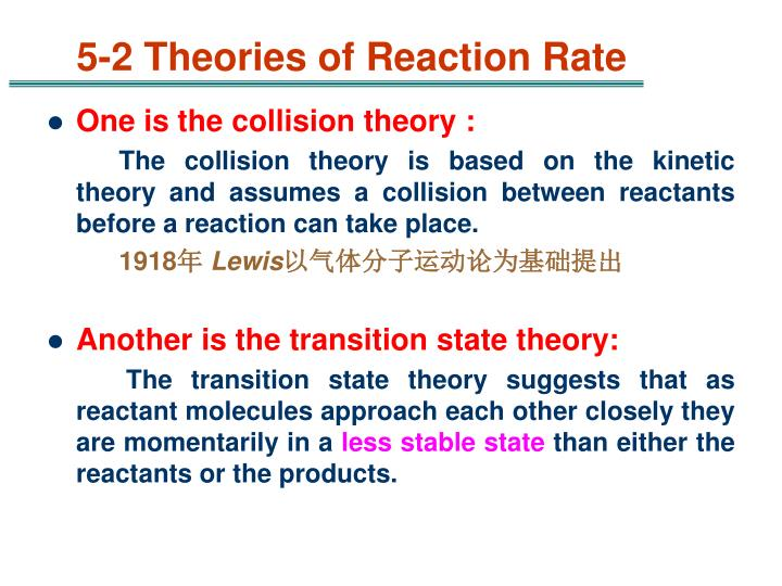 5-2 Theories of Reaction Rate