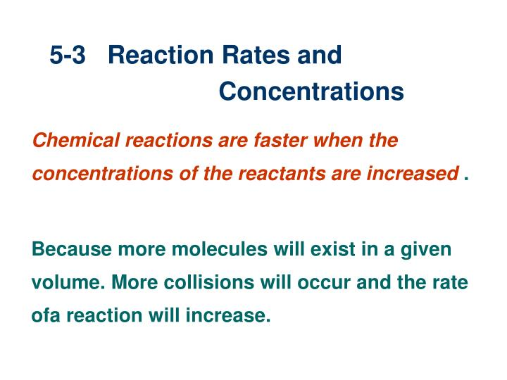 5-3   Reaction Rates and