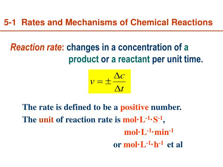 5-1  Rates and Mechanisms of Chemical Reactions