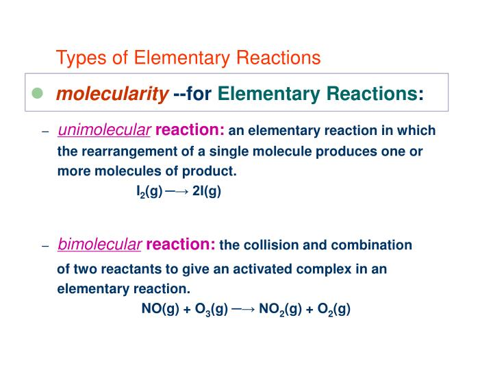 Types of Elementary Reactions