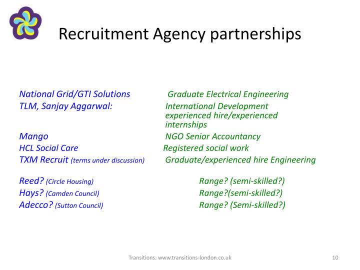 Recruitment Agency partnerships