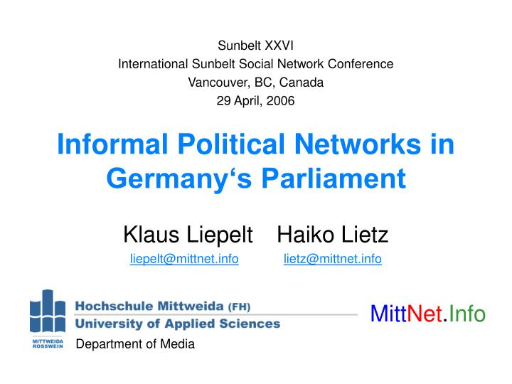 Informal political networks in germany s parliament