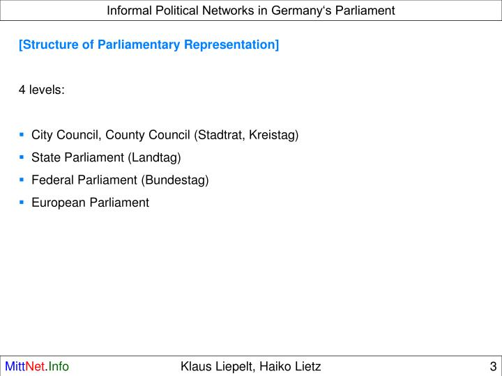 Informal Political Networks in Germany's Parliament
