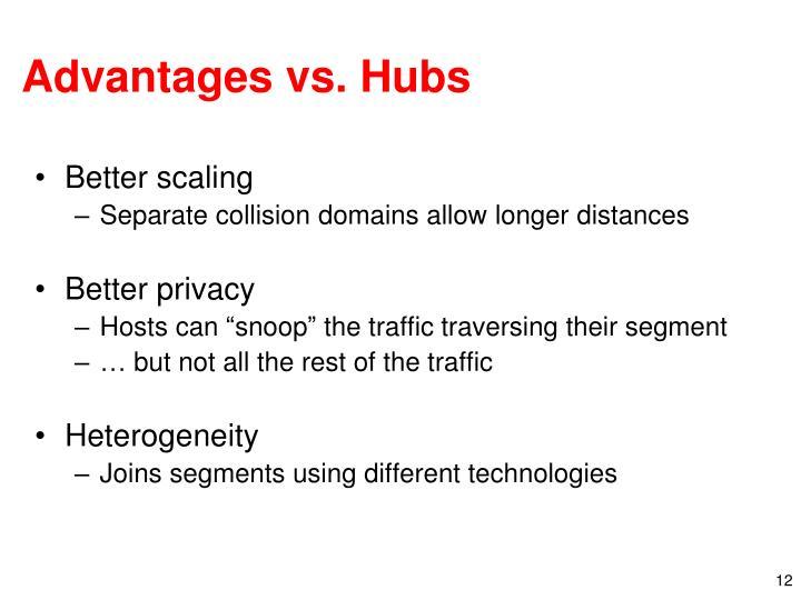 Advantages vs. Hubs