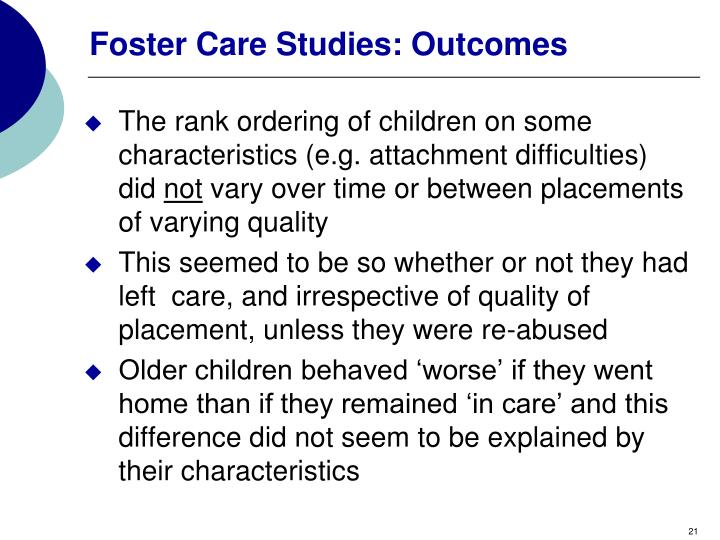 Foster Care Studies: Outcomes