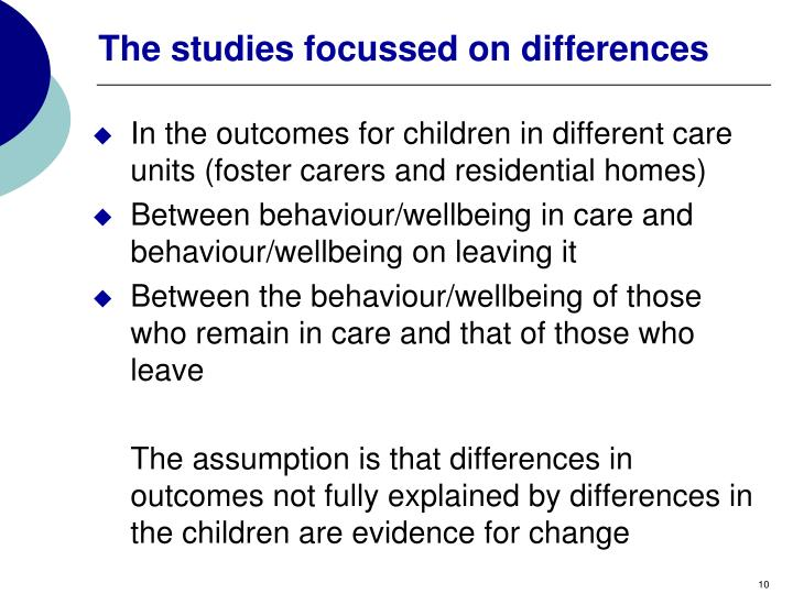 The studies focussed on differences