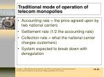 traditional mode of operation of telecom monopolies