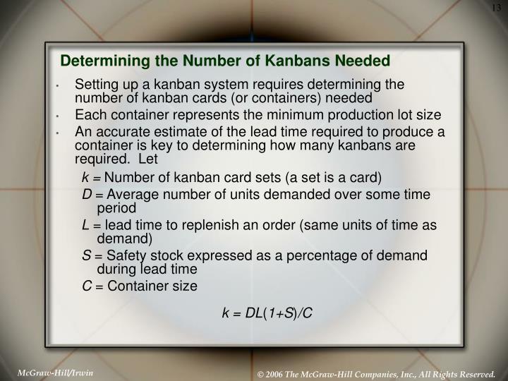 Determining the Number of Kanbans Needed
