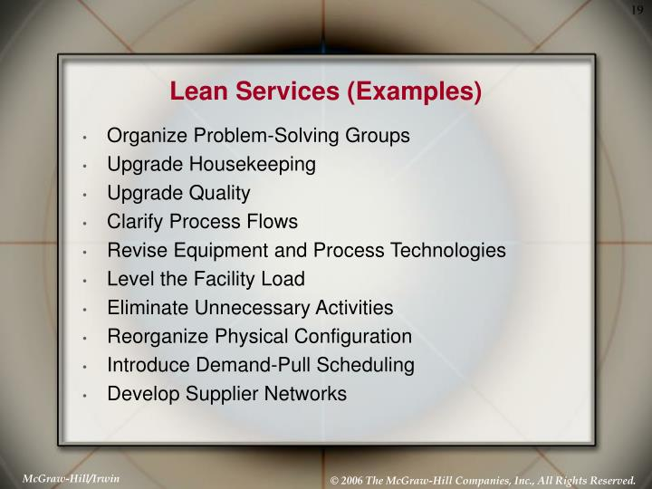 Lean Services (Examples)