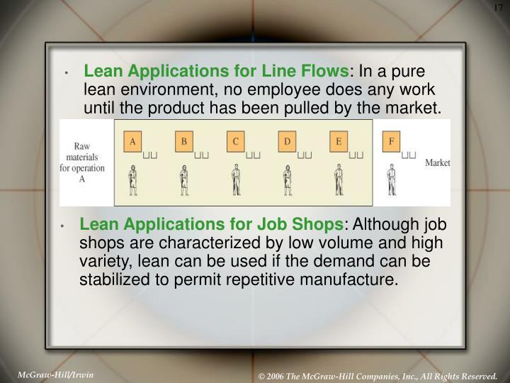 Lean Applications for Job Shops