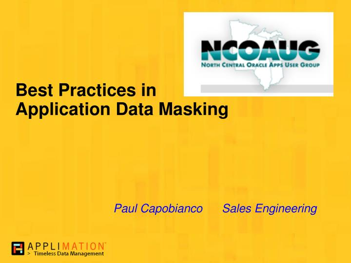 PPT - Best Practices in Application Data Masking PowerPoint