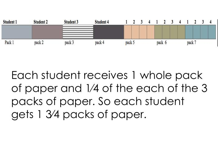 Each student receives 1 whole pack of paper and 1⁄4 of the each of the 3 packs of paper. So each student gets 1 3⁄4 packs of paper.