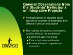 general observations from the students reflections on integrative projects