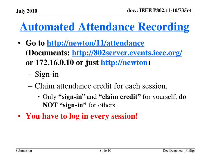 Automated Attendance Recording