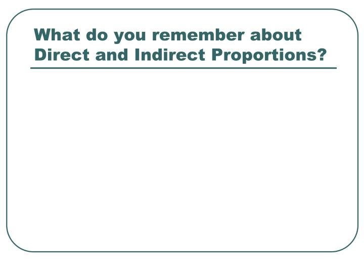 What do you remember about Direct and Indirect Proportions?