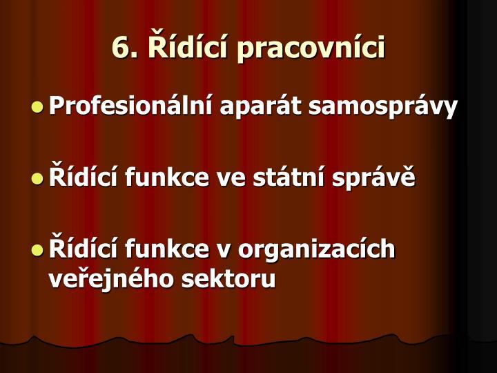 6. Řídící pracovníci