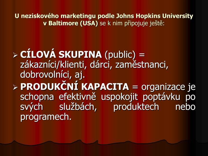 U neziskového marketingu podle Johns Hopkins University vBaltimore (USA)