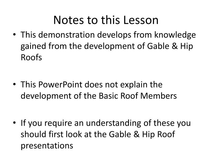 Notes to this lesson