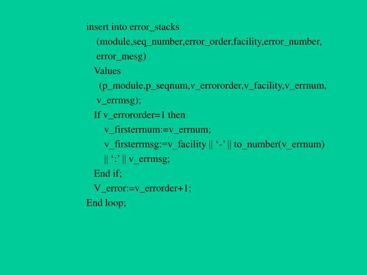 insert into error_stacks