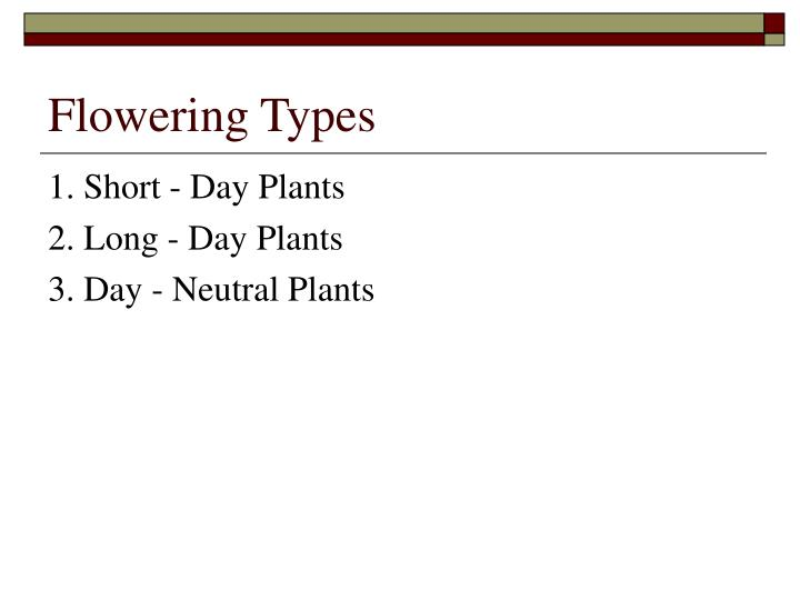 Flowering Types