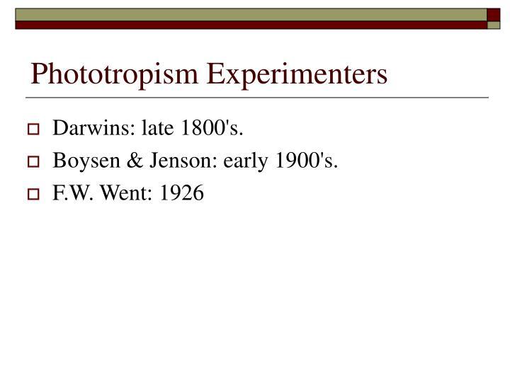 Phototropism Experimenters