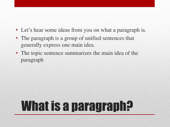 Let's hear some ideas from you on what a paragraph is.