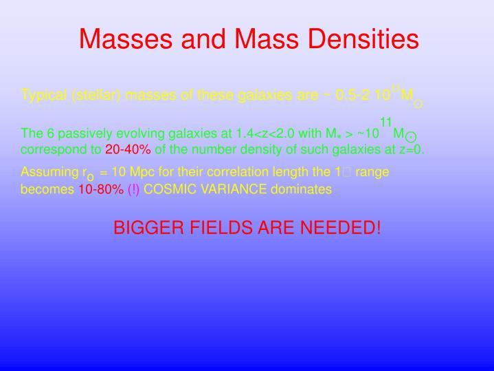 Masses and Mass Densities