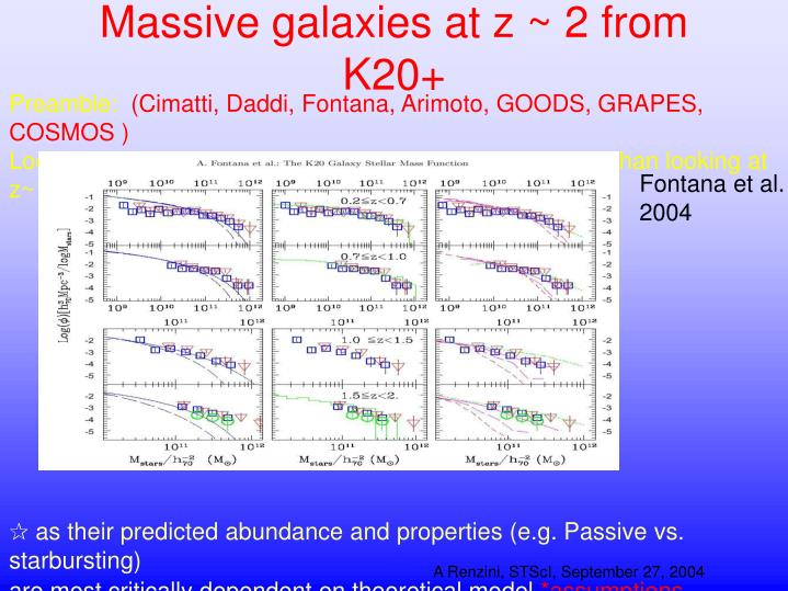Massive galaxies at z 2 from k20