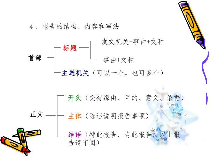 4、报告的结构、内容和写法