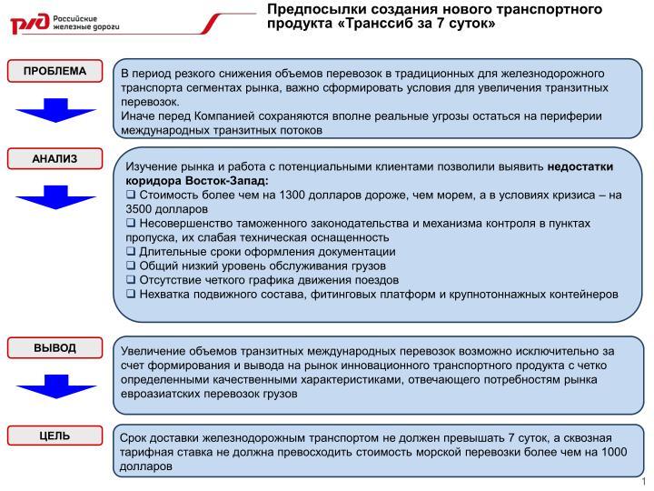 Предпосылки создания нового транспортного продукта «Транссиб за 7 суток»