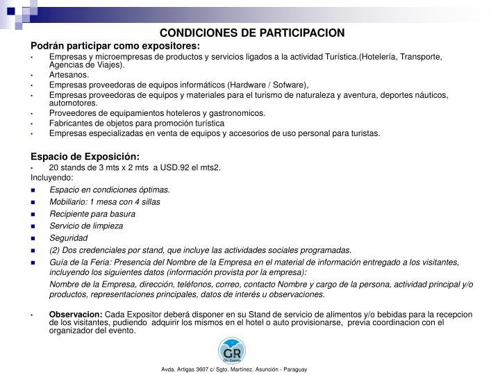 CONDICIONES DE PARTICIPACION