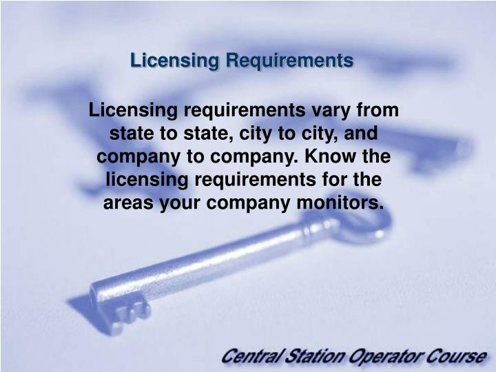 Licensing Requirements
