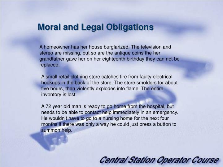 Moral and Legal Obligations