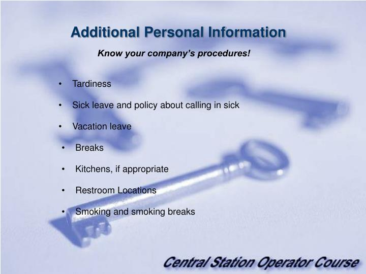 Additional Personal Information