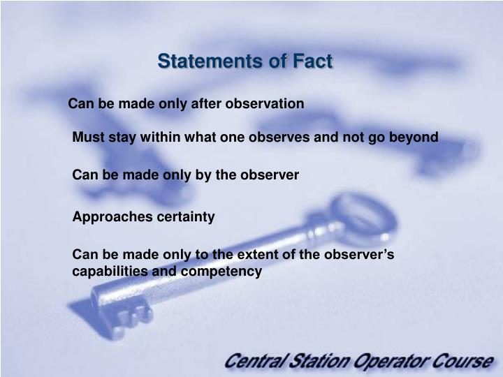 Statements of Fact