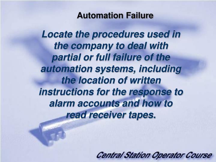 Automation Failure