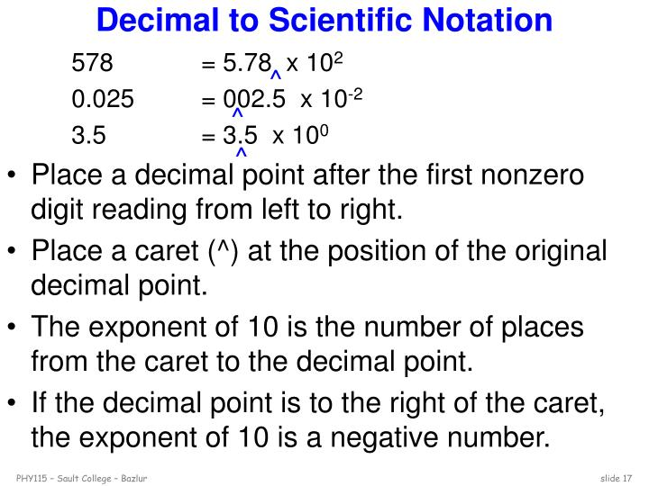 Decimal to Scientific Notation