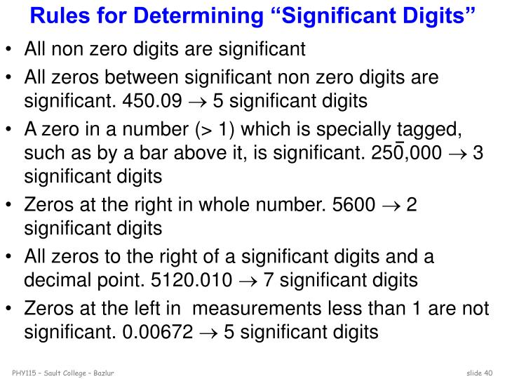 """Rules for Determining """"Significant Digits"""""""