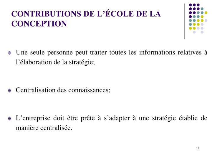 CONTRIBUTIONS DE L'ÉCOLE DE LA  CONCEPTION