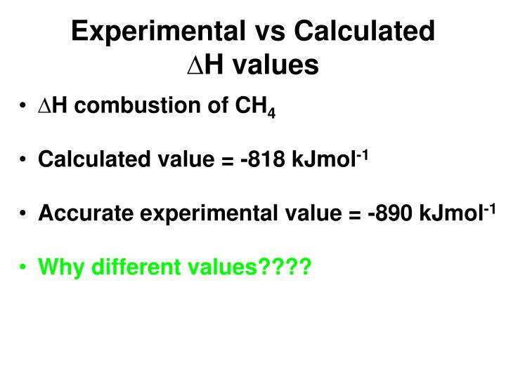Experimental vs Calculated