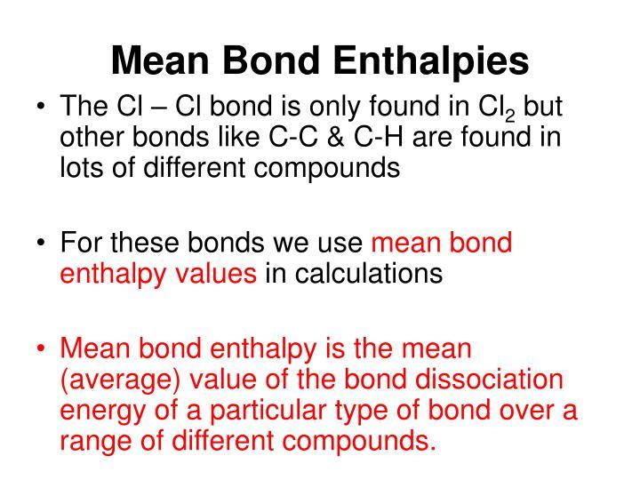 Mean Bond Enthalpies