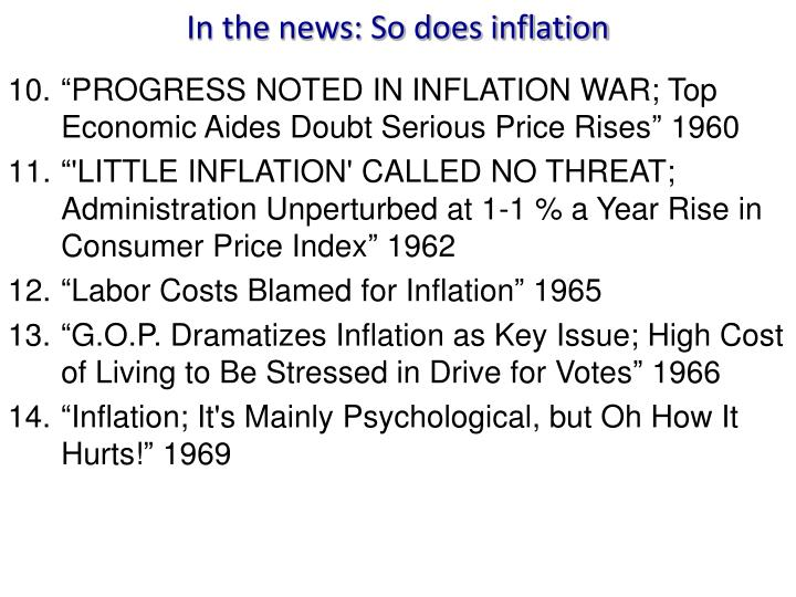 In the news: So does inflation
