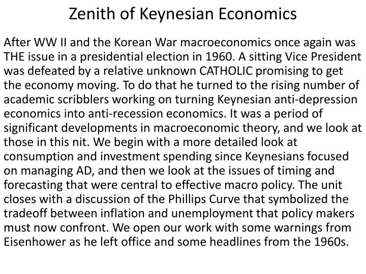 Zenith of keynesian economics