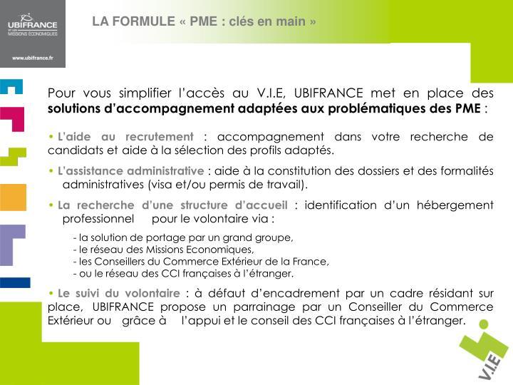 LA FORMULE «PME : clés en main»