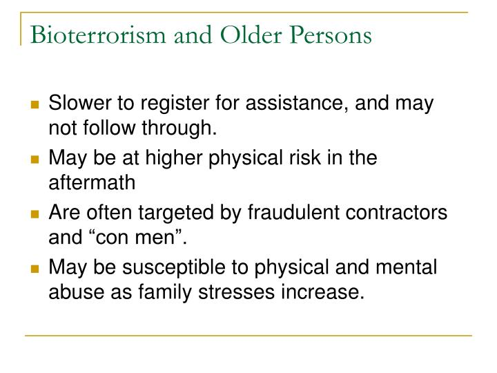 Bioterrorism and Older Persons